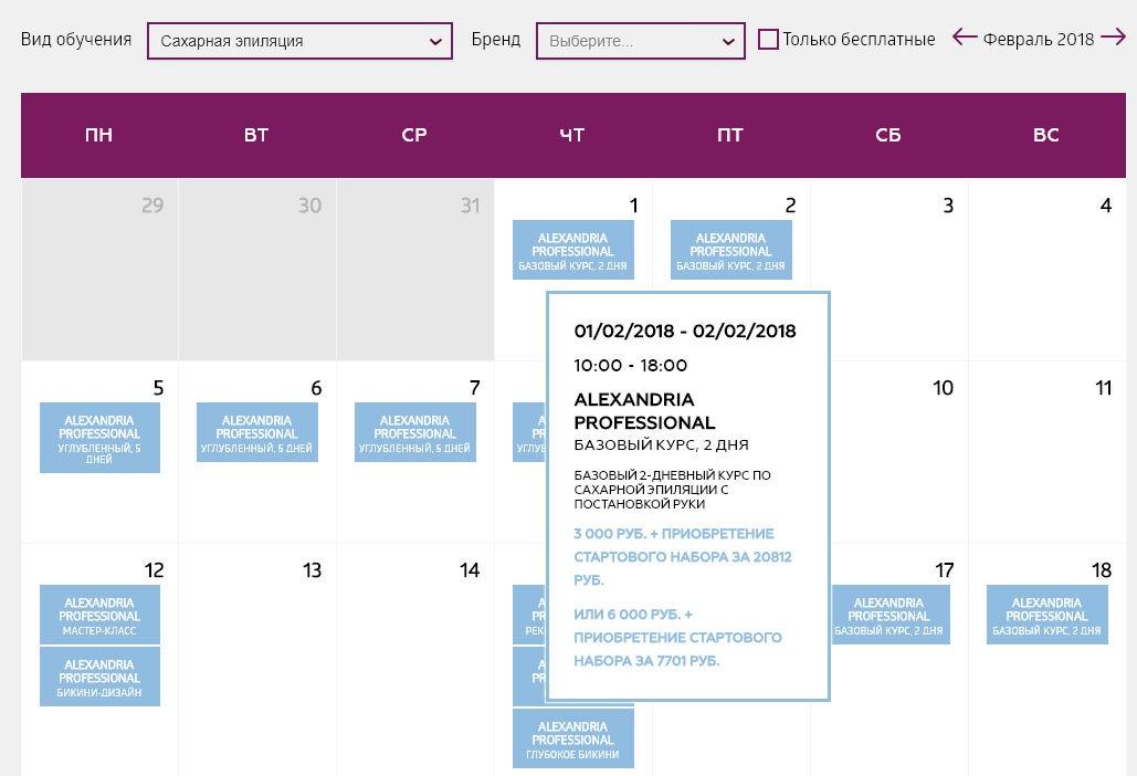 Цена двухдневного курса по шугарингу в учебном центре Николь в Москве