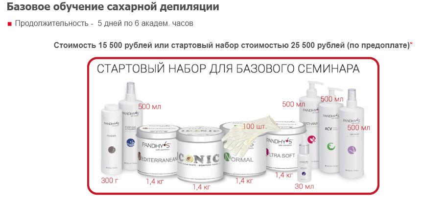 Стоимость базового курса обучения шугарингу с получением сертификата в центре СкинЛайт в Москве